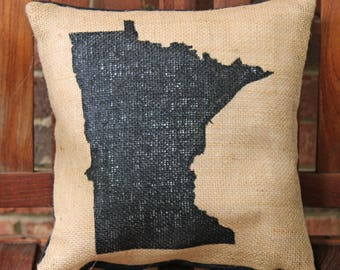 Hand Painted Minnesota State Silhouette on Burlap Pillow Cover