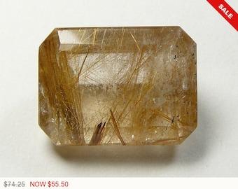 Golden Rutilated Quartz, faceted 16x22x11mm, internal inclusions, nice cut not perfect, would make a beautiful ring. (ru111661)