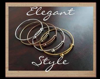 WRAP STYLE, Elegant Ball Knob End Bangles-Silver, Bronze, Gold, Copper, Imitation Rhodium for Dangle Charm. Pick your quantity of bracelets