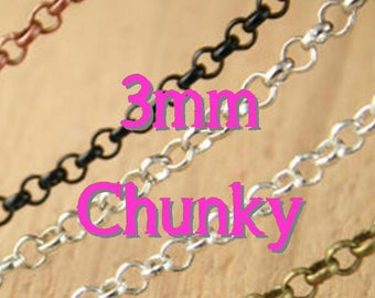 10 Necklaces - CHUNKY Rolo Style - 36 inch - Bronze Chain - Mix and Match -Antique Copper Chain, Silver, Black, Antique Silver Chain