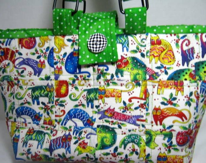 Cats Yarn Organizer Project Tote, Knitting Crochet Craft Bag, Quilted Scrappy Patchwork Hand Tote