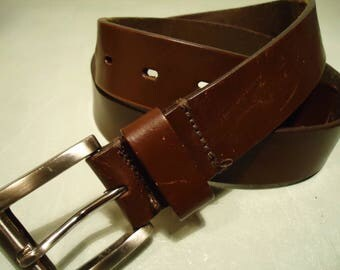 Vintage 1990s Brown Smooth Leather Belt Unisex