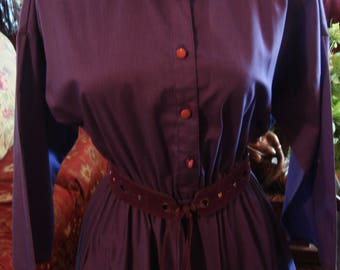 Vintage 1960s Purple American Shirt Dress