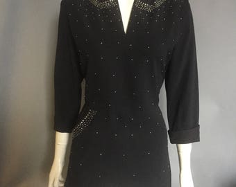 1940s studded tunic/ evening blouse