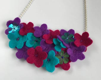 Felt Flower Necklace - Bright Flowers - Statement Flower Necklace