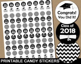 High School Graduation Party Idea, Black and White Graduation Party Favor, Senior 2018 Sticker, College Graduation Candy Stickers G3