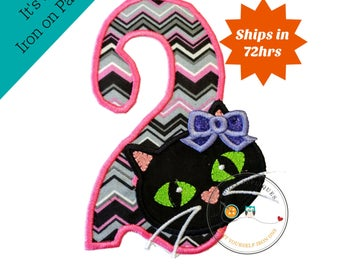 Jade kitty face with pink and gray chevron pattern birthday number 2 - iron embroidered fabric applique patch embellishment- ready to ship