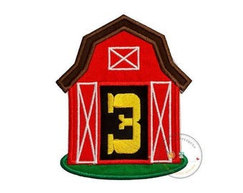 ON SALE NOW Red barn birthday number three iron on applique, Farm yard birthday number 3 embroidered patch, country third birthday iron on,