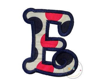 ON SALE NOW Chunky curls letter E iron on applique, Girls nautical monogram, iron on initial E, Blue and pink monogram letter E, Ready to sh