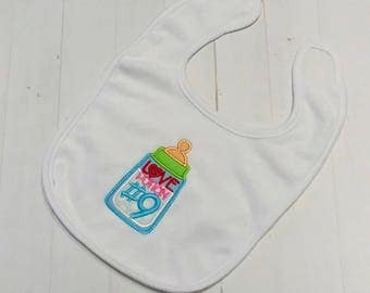 Love potion number 9 white embroidered Koala Baby cloth baby bibs for 6-12 month old girls and boys
