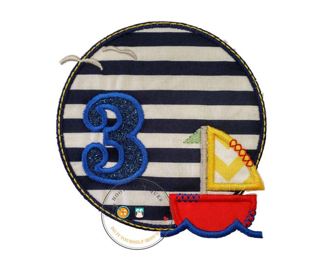 Sailboat circle birthday number 3, embroidery nautical glitter number 3, sailboat themed iron on third birthday patch, ready to ship.