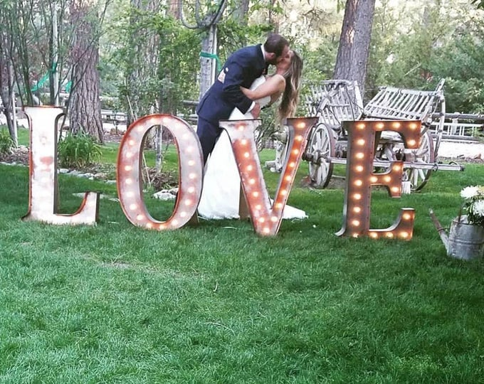 LOVE PLAY Lighted Marquee Sign 4pc Custom Personalized Metal.........Wedding Business Engagement Bar Home Eat