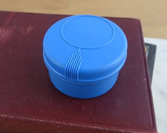 Vintage Blue Bakelite Cosmetic Vanity Jar, Art Deco Lidded Pot, Powder Jar, Dresser Jar, Trinket Box Made in England