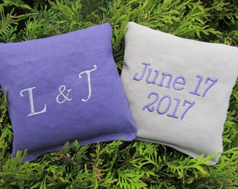 Personalized Wedding Cornhole Game Bags - Initials and Date - Set of 8 Shown in Purple and Grey
