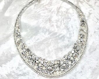 Bridal Statement Necklace- Rhinestone Bridal Necklace- Wedding Necklace- Swarovski Necklace- Rhinestone and Pearl Necklace- Made in the USA
