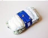 FINAL CLEARANCE Vintage Cow Print Diaper Strap - Blue Cow Jumped Over the Moon Vintage Fabric