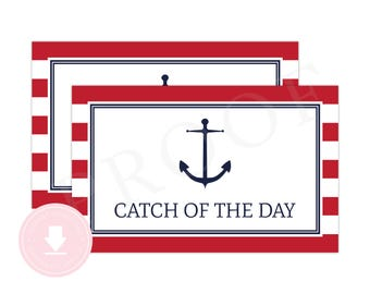 INSTANT DOWNLOAD Nautical Gable Box Labels (Red Anchor Party, Nautical Birthday, Nautical Lunch Box, Boys Preppy Nautical Party)