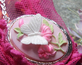 Locket Pink & White Butterfly Cameo Ladies Silver Filegre art designer Necklace Pendant