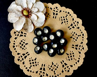 12 1950's Hard Plastic Black Buttons with Rhinestone Centers