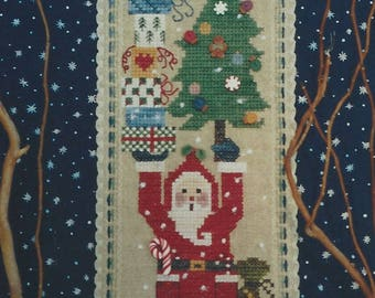 """Clearance- """"Down the Chimney He Came"""" Counted Cross Stitch by Fanci That"""