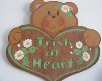 St. Patrick's Day, bear, heart, wall hanging,  St. Paddy's Day, St. Pat's Day, daisies, handpainted, wood, gift for her