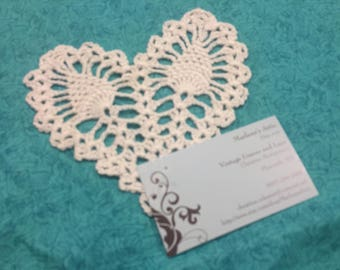Vintage 5 inch White Heart Shaped Hand Crochet doily for housewares, home decor, pillows, christmas, holiday, bags by MarlenesAttic
