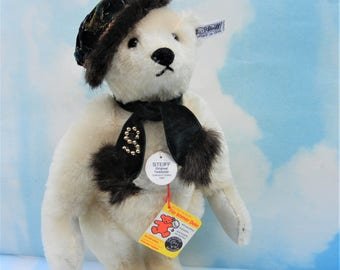 SALE-Steiff Margaret Strong White Teddy Bear w/ LEATHER PAWS  All IDs  #0158/31 n/ Mint Ltd. 1985 Rare German Collectible Toy Doll