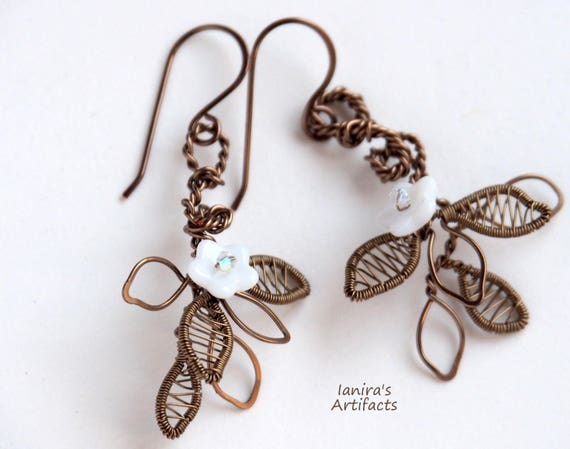 White flower earrings Wedding Wire wrapped leaf leafy nature jewelry bridal bronze dangle twig bridesmaid gifts for women anniversary gift