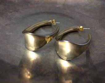 Vintage Hoop Earrings Medium Hoop Earrings Gold Hoop Earrings Wide Hoop Earrings Vintage Earrings Vintage Jewelry Antique Jewelry
