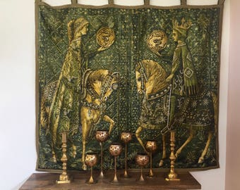 Vintage Renaissance style wall hanging quilt, Medieval wall hanging