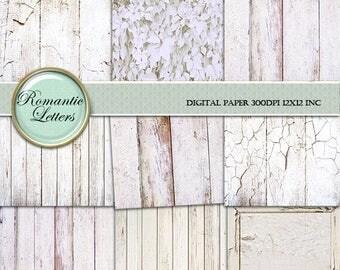 Sale 60% White Wood digital paper painted  wood scrapbook paper pack texture wedding Background wood backdrop newborn digital backdrop shabb