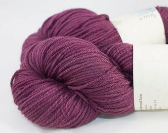 Non-Superwash Worsted, Hand Dyed in Garnet Colorway.