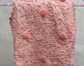 Vintage peach pink floral lace top short sleeveless button back sz XS