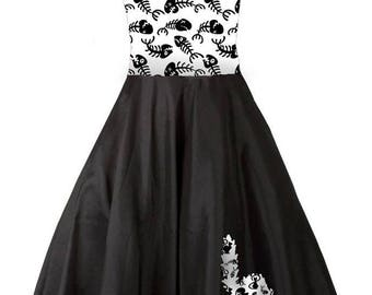 Pin up black and white herringbone patterned dress