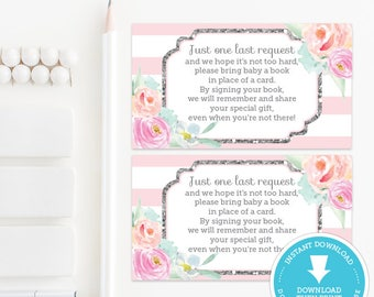 Pink and Silver Book Request Card Insert, Pink and Silver Baby Shower, Baby Shower Games, baby shower printable, Girl Baby, Instant Download