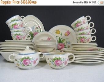 ON SALE Taylor Smith Taylor Dinnerware Set / 51 Pc. Vintage Wedding China Set Service for 8 Plus Serving Pieces Pink Floral Blue Rim 1940s 1