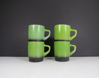 Fire-King Glass Mugs Set // Vintage Set of Four Stacking Glass Coffee Cups Retro Avocado Green Finish Black Ombre Base Anchor Hocking USA