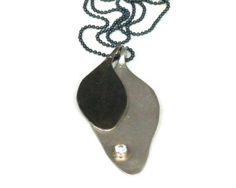 Large Silver Leaf Pendants, Oxidized Silver Eucalyptus  Leaf Necklace,   Organic Jewelry Botanical Artisan Handmade by Sheri Beryl