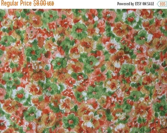 40% OFF Vintage Cotton Floral Fabric 50s or 60s Orange Green and Golden Yellow Flowers - 1 1/4 Yards - CFL0645
