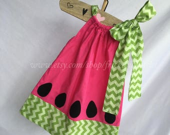 Pink Watermelon Pillowcase Dress with Green Accents, Summer Dress, Watermelon Outfit, Toddler Girl Dress, Summer Outfit, Beach Dress