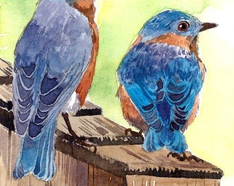 ACEO Limited Edition 2/25 - Bluebirds in a birdhouse, Art print of an original ACEO watercolor painted by Anna Lee