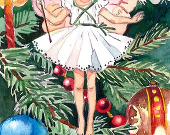 ACEO Limited Edition 1/25- Christmas tree fairy inspired by Cicely Mary Barker, Art print of original watercolor, Wild flowers