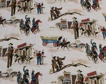 Vintage Old West Fabric / Vintage Wagon Train Fabric / Vintage Cowboy Fabric / Vintage Woven Fabric / Country Western Fabric / Horse Fabric