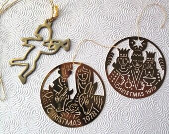 Brass Nativity Ornaments Set of Three Angel Wise Men Mary Joseph Baby Jesus 1970s Golden Christmas Tree Ornaments Holiday Decor