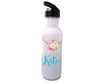 Personalized stainless steel water Bottle- Antlers and Watercolor - Custom water bottle for kids