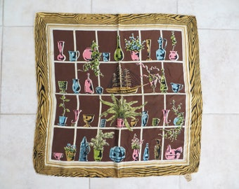 Vintage 50s silk scarf, BG Creations symbol of scarf superiority, brown gold pink blue green window pane design, fabric art, wall hanging