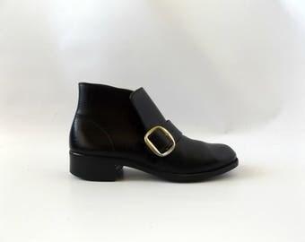 buckle beatle boots men's size 8 - vintage 60s black vinyl dress casual ankle boot - hipster rockabilly shoes - 1960s minimal rocker booties