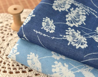 Blue Floral Fabric Poly Cotton Fabric Sold by Half Meter MJ738