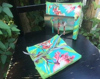 Wash Cloths, Napkins, Reusable Towels - Amy Butler Love Bliss Bouquet    - Set of 4