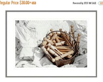 ON SALE Laundry Room Decor, Vintage Clothespins, Whites, Laundry Room Art, For the Laundry Room, Home Decor, Laundry Room Art